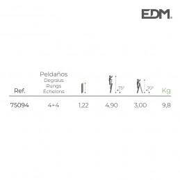 ESCALERA MULTIFUNCION TELESCOPICA 2X4+4 PELDAÑOS EN131-4 EDM medidas