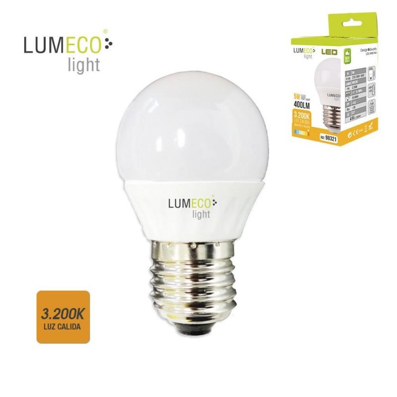 BOMBILLA LED E27 5W 400 LUMENS 3200K LUZ CALIDA LUMECO