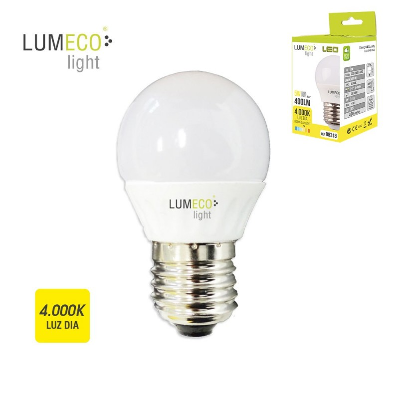 BOMBILLA LED E27 5W 400 LUMENS 4000K LUZ NEUTRA LUMECO