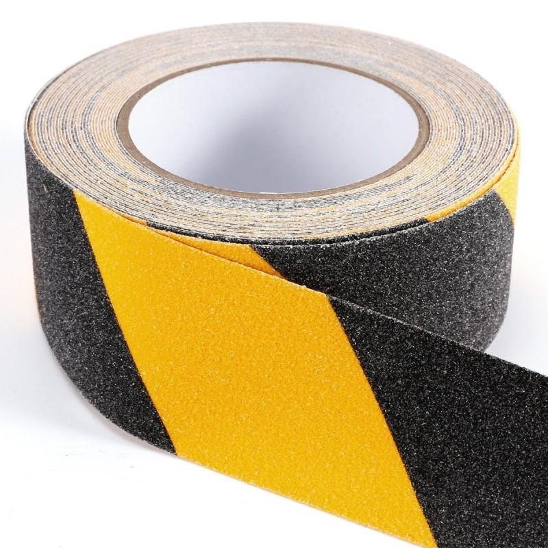 Cinta Antideslizante Amarilla y Negra Autoadhesiva 50 mm * 18 mts Cofan